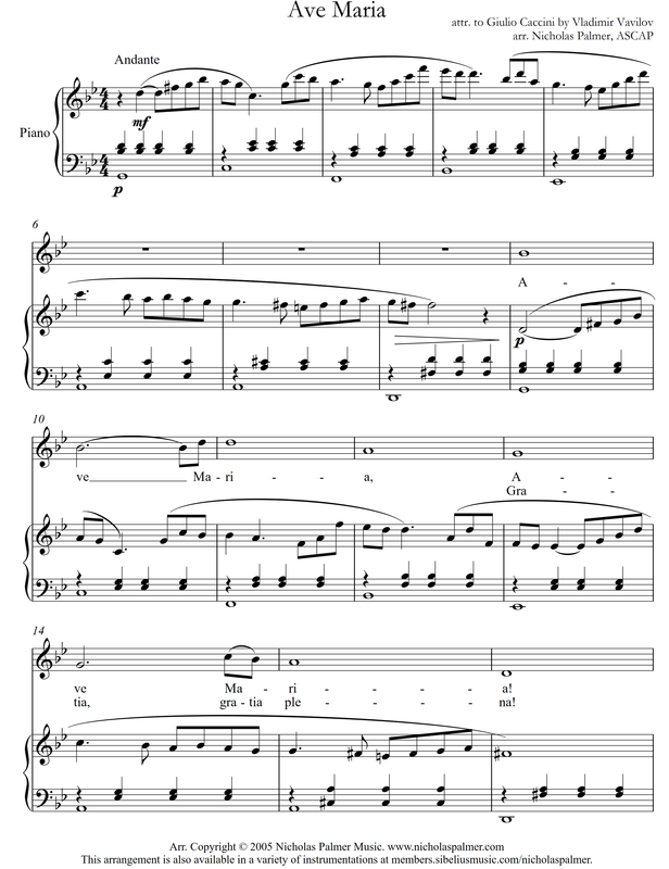 Piano ave maria sheet music piano : vocal concert music - nicholas palmer